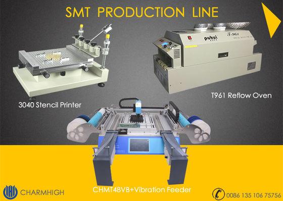 China High precision 3040 Stencil Printer + CHMT48VB with vibration Feeder + T961 Reflow Oven SMT Line distributor
